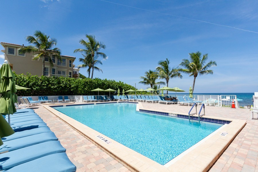 Real Estate Photography - 4750 S Ocean Blvd, Unit 605, Highland Bch, FL, 33487 - Pool