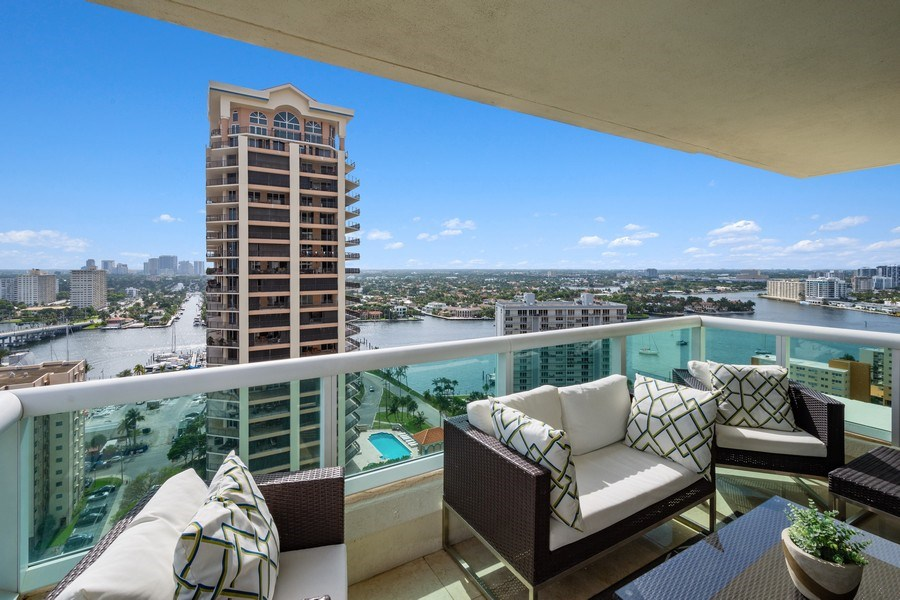 Real Estate Photography - 101 S. Fort Lauderdale Beach Blvd, APARTMENT 2107, FORT LAUDERDALE, FL, 33316 - Balcony