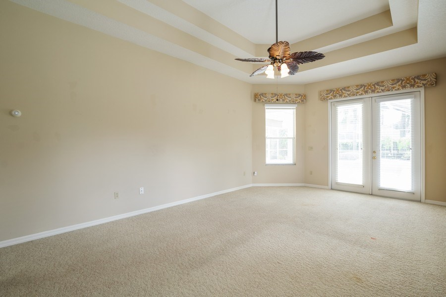 Real Estate Photography - 1187 Falling Pine, Winter Springs, FL, 32708 - MASTER BEDROOM - OPENS TO POOL/SPA