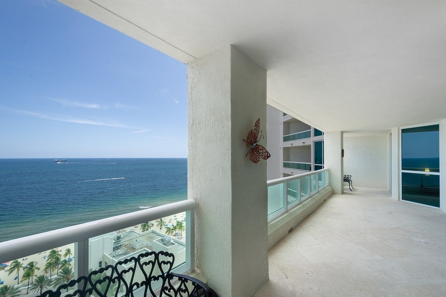 Real Estate Photography - 101 S Fort Lauderdale Beach Blvd, Apt 1803, Fort Lauderdale, FL, 33301 - Balcony