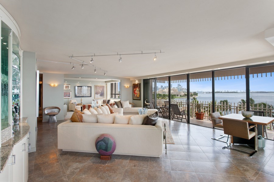 Real Estate Photography - 3 Grove Isle Dr. #C601, Miami, FL, 33133 - #3 Living room city view