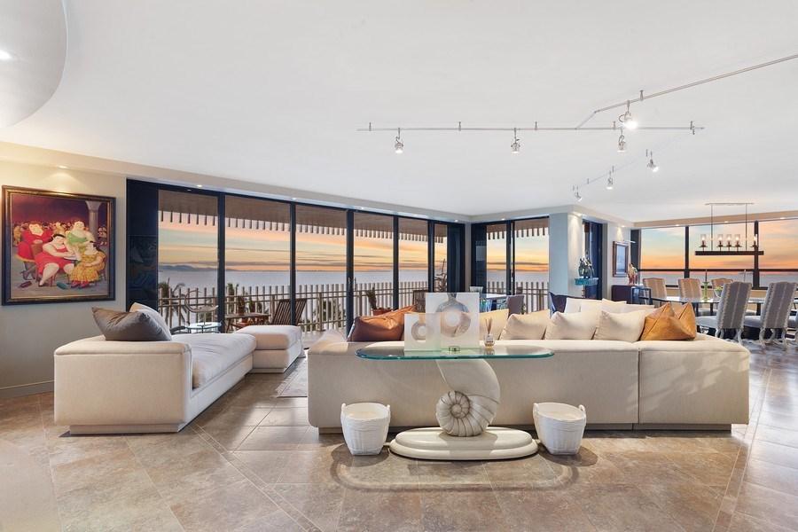 Real Estate Photography - 3 Grove Isle Dr. #C601, Miami, FL, 33133 - #5 New Living Room Twilight