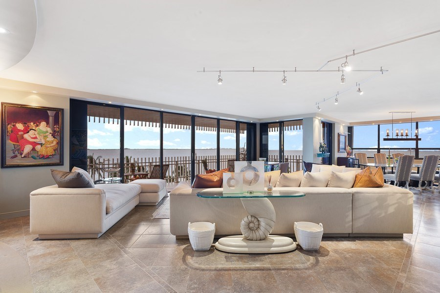 Real Estate Photography - 3 Grove Isle Dr. #C601, Miami, FL, 33133 - #6 New Living room Blue Sky