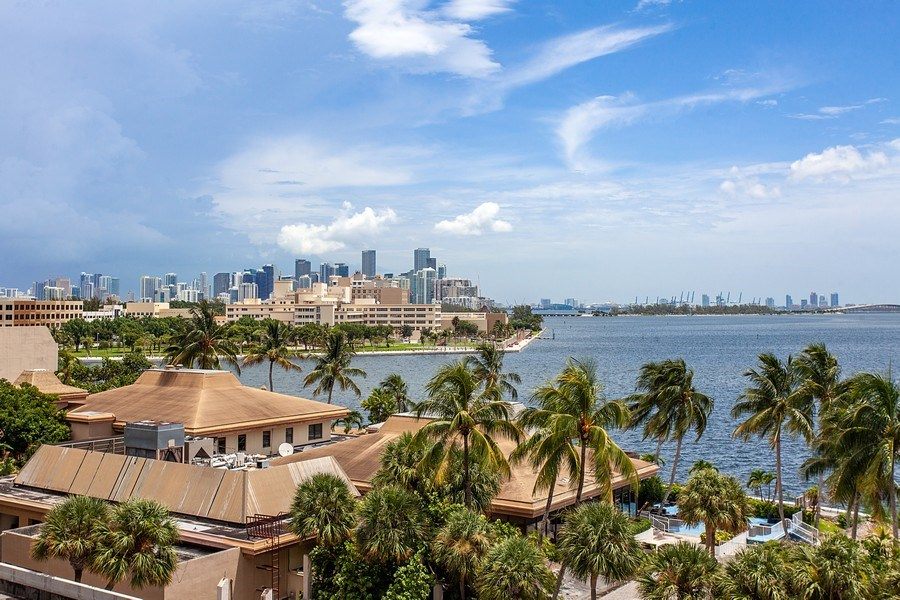 Real Estate Photography - 3 Grove Isle Dr. #C601, Miami, FL, 33133 - #42 City and Bay View