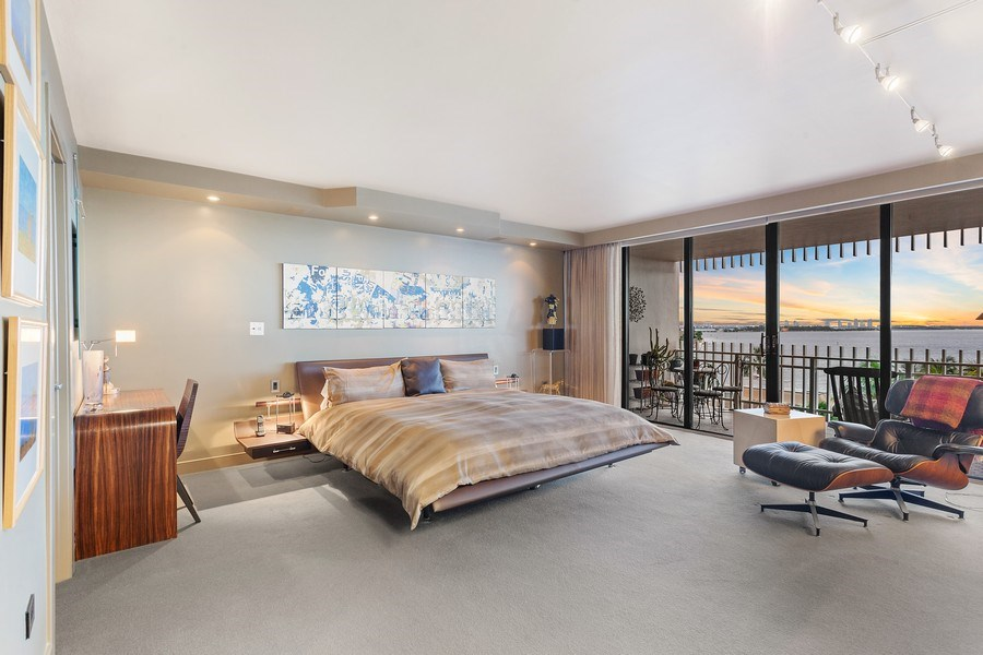 Real Estate Photography - 3 Grove Isle Dr. #C601, Miami, FL, 33133 - #29 New Master bedroom twilight