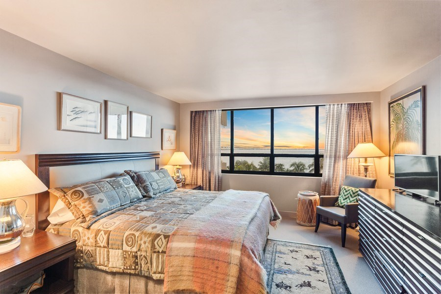 Real Estate Photography - 3 Grove Isle Dr. #C601, Miami, FL, 33133 - #38 New Guest Bedroom Full twilight
