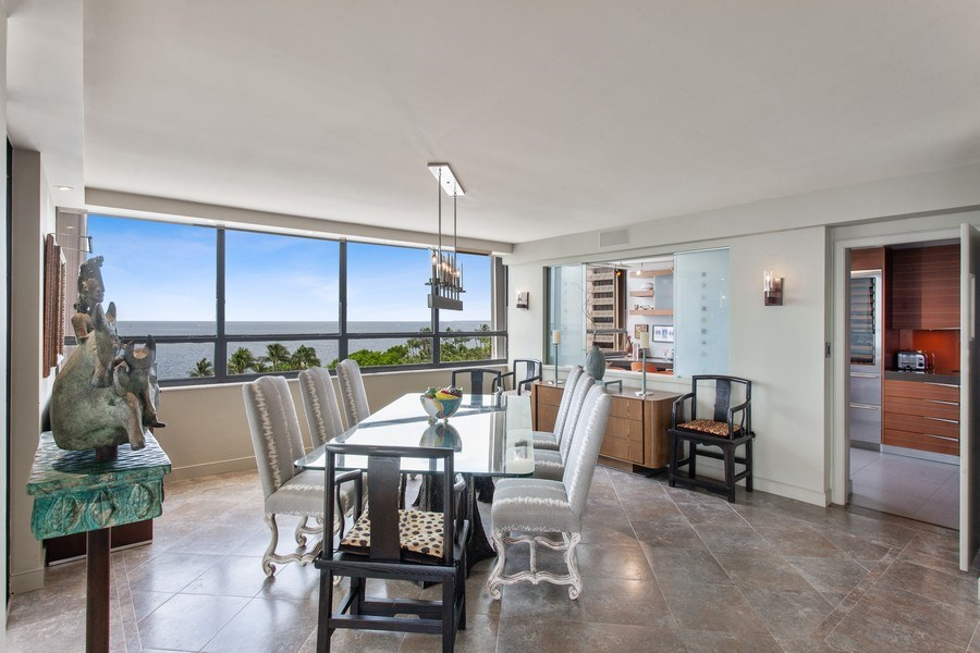 Real Estate Photography - 3 Grove Isle Dr. #C601, Miami, FL, 33133 - #14 Dining room