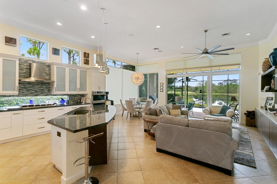 Real Estate Photography - 312 Porto Vecchio Way, Palm Beach Gardens, FL, 33418 - Kitchen / Living Room