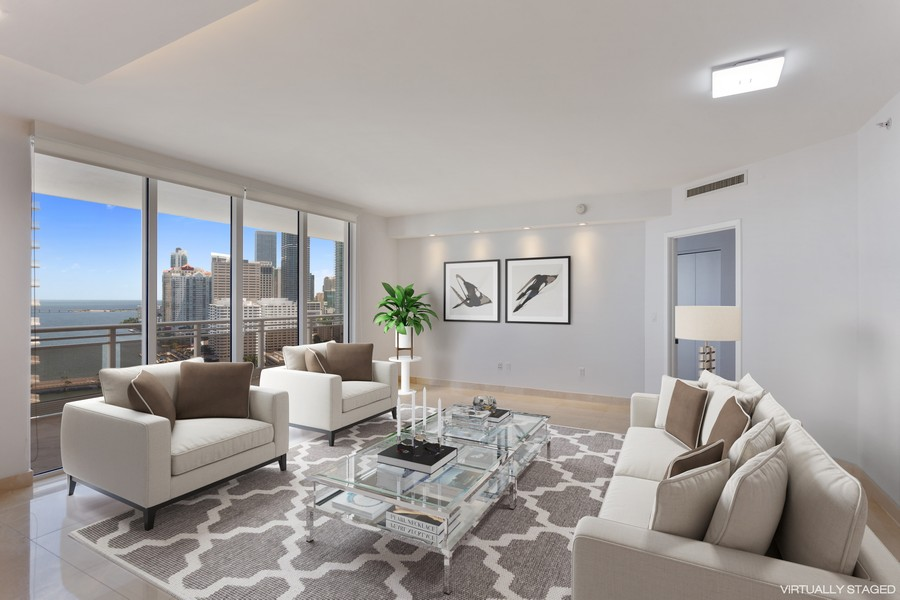 Real Estate Photography - 901 Brickell Key Blvd #2203, Miami, FL, 33131 - Living Room