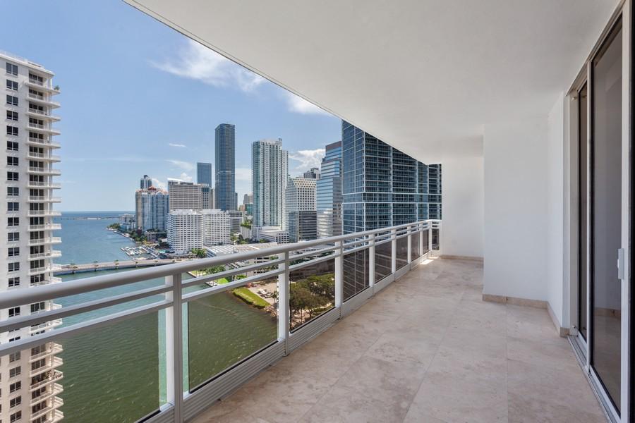 Real Estate Photography - 901 Brickell Key Blvd #2203, Miami, FL, 33131 - Balcony
