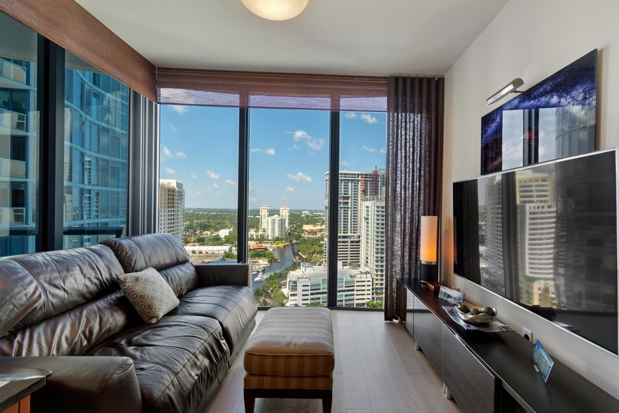 Real Estate Photography - 333 Las Olas Way, Unit 2406, Fort Lauderdale, FL, 33301 - Family Room