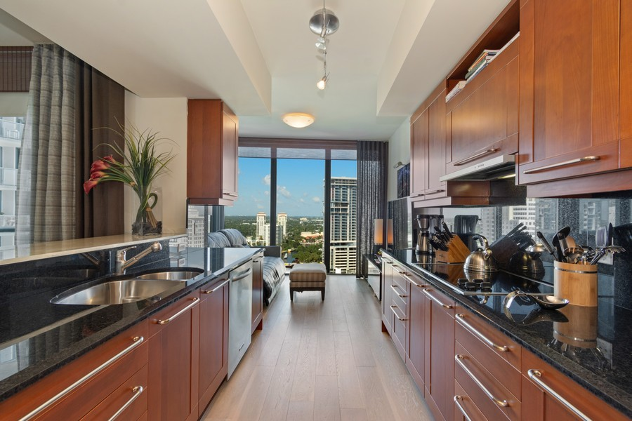 Real Estate Photography - 333 Las Olas Way, Unit 2406, Fort Lauderdale, FL, 33301 - Family Room / Kitchen