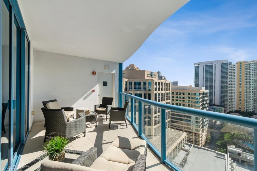 Real Estate Photography - 333 Las Olas Way, Unit 2406, Fort Lauderdale, FL, 33301 - Balcony