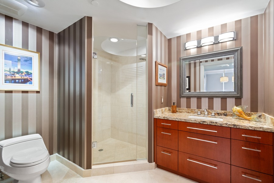 Real Estate Photography - 2845 NE 9th St, Unit 905, Fort Lauderdale, FL, 33304 - Full Bath Adjacent to Master Bedroom #2