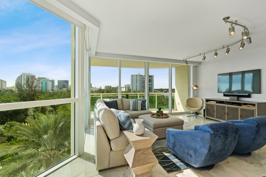Real Estate Photography - 2845 NE 9th St., Unit 601, Fort Lauderdale, FL, 33304 - Living Room