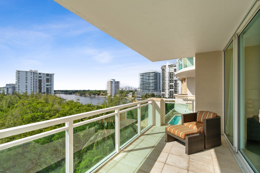 Real Estate Photography - 2845 NE 9th St., Unit 601, Fort Lauderdale, FL, 33304 - Master Bedroom Balcony