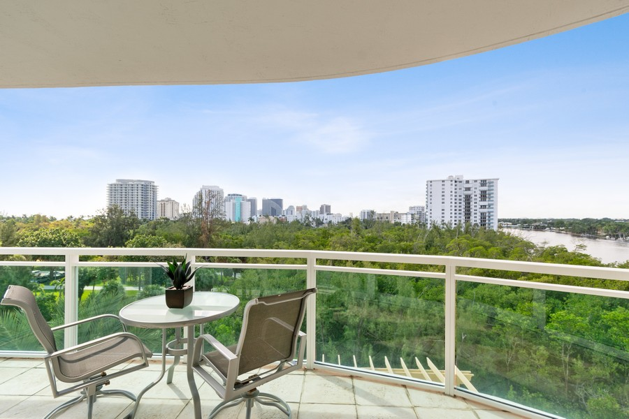 Real Estate Photography - 2845 NE 9th St., Unit 601, Fort Lauderdale, FL, 33304 - Balcony off Living Room