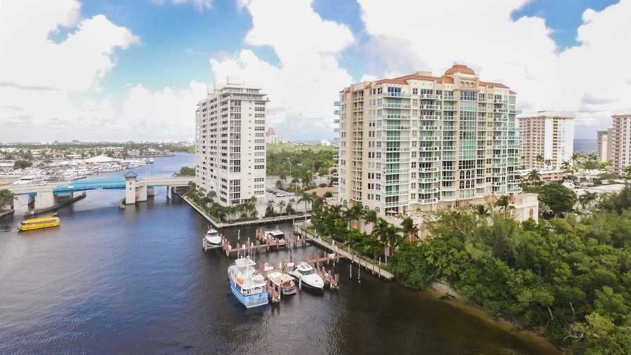 Real Estate Photography - 2845 NE 9th St., Unit 601, Fort Lauderdale, FL, 33304 - Aerial View - Marina