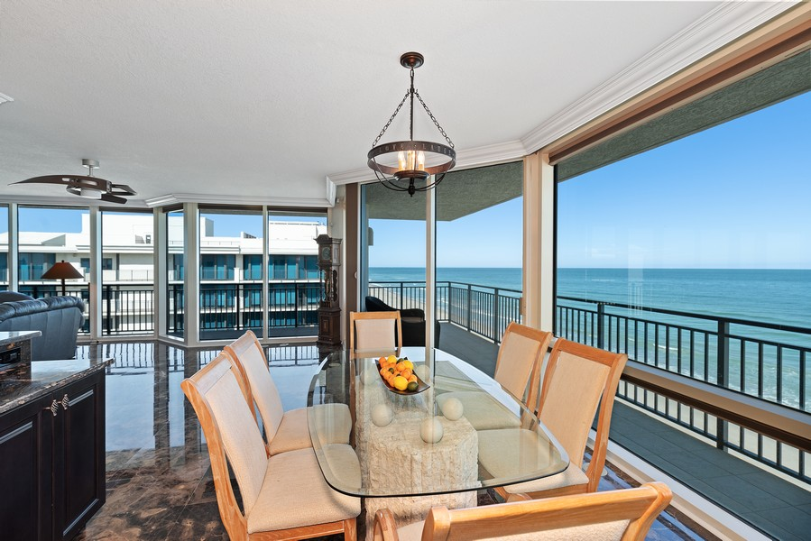 Real Estate Photography - 1323 Highway A1A, 601, Satellite Beach, FL, 32937 - Dining Room