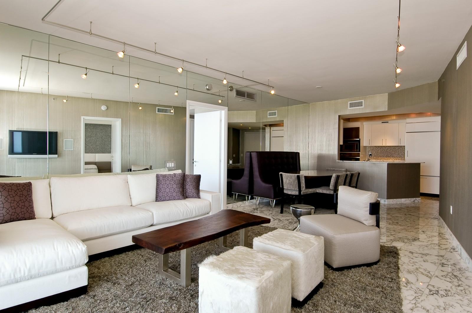 Real Estate Photography - 450 Alton Rd, Unit 2910, Miami Beach, FL, 33139 - Kitchen / Living Room