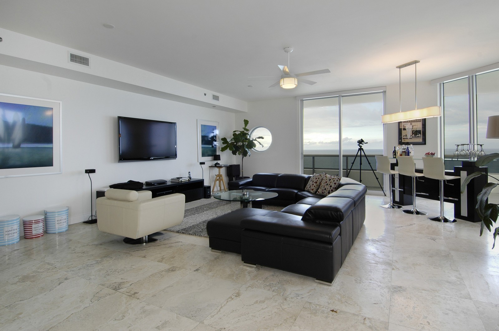 Real Estate Photography - 5801 Collins Ave, PH 1500, Miami Beach, FL, 33140 - Living Room