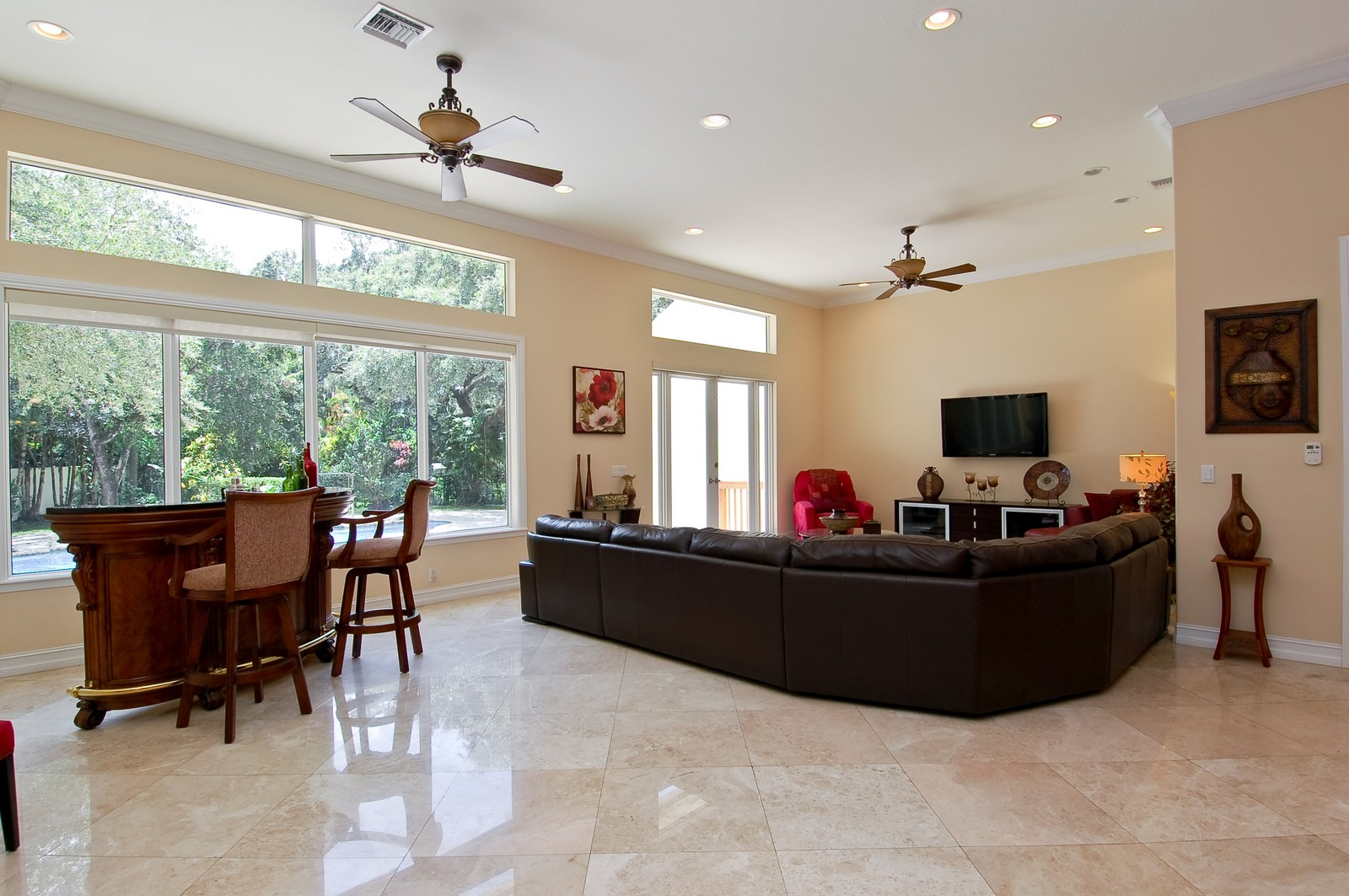 Real Estate Photography - 5400 Woodlanden Ln, Ft Lauderdale, FL, 33021 - Family Room