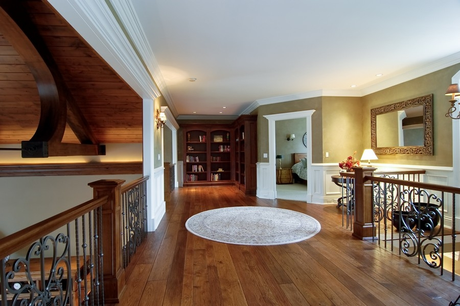 Real Estate Photography - 8S235 Murray Dr, Naperville, IL, 60540 - Upstairs hallway with three bedrooms ensuite,craft