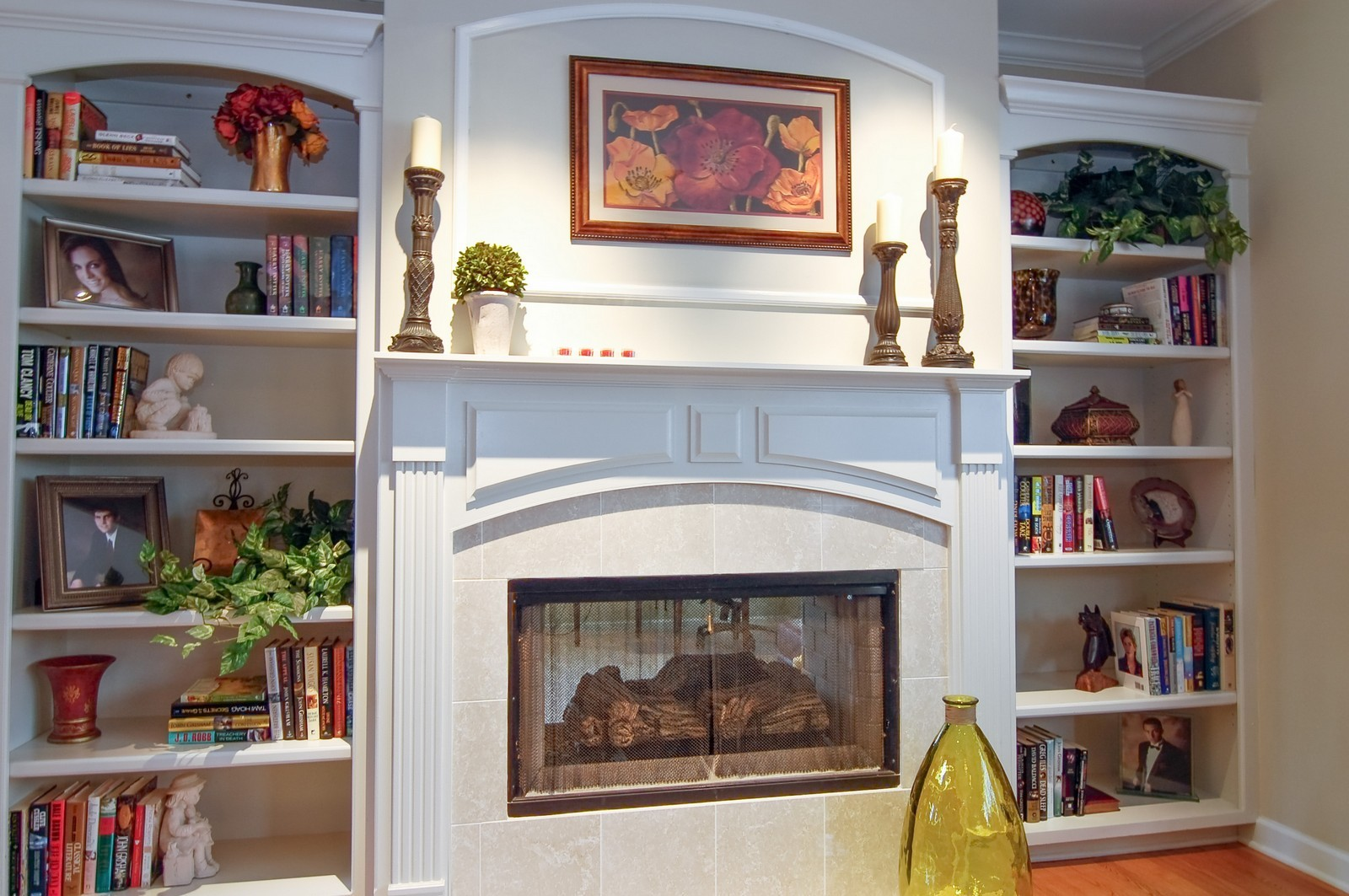 Real Estate Photography - 203 E. Lincoln, Wheaton, IL, 60187 - Fireplace & Built-in Shelves in Family Room
