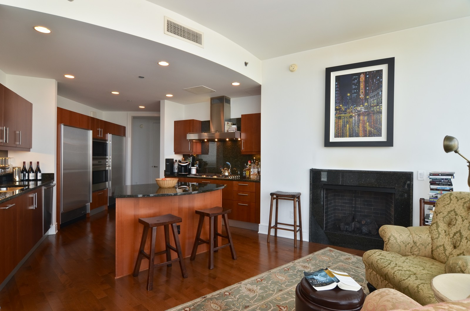 Real Estate Photography - 401 N Wabash, Unit 52a, Chicago, IL, 60611 - Family Room / Kitchen