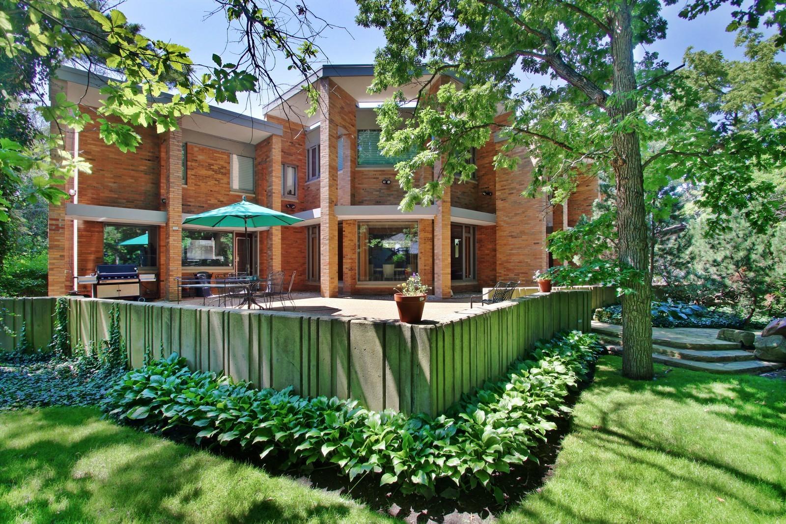 Real Estate Photography - 350 Sunrise Circle, Glencoe, IL, 60022 - Back of Home + terrace