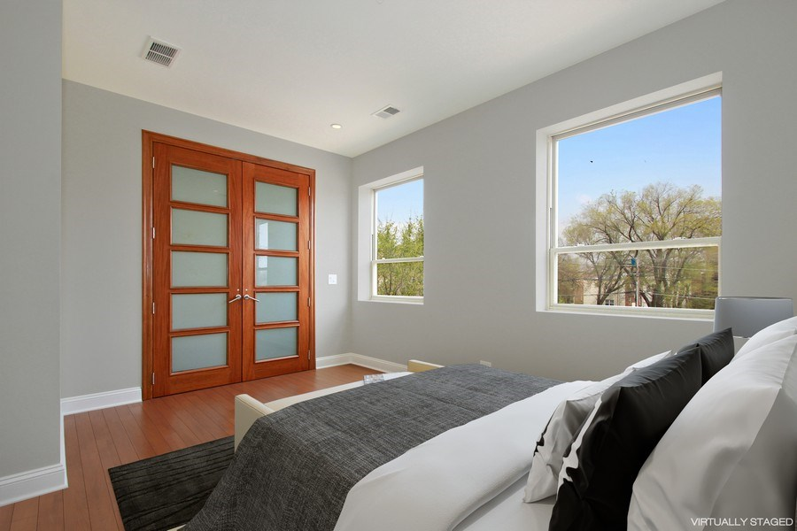 Real Estate Photography - 7227 S Exchange, Unit a, Chicago, IL, 60649 - Master Bedroom