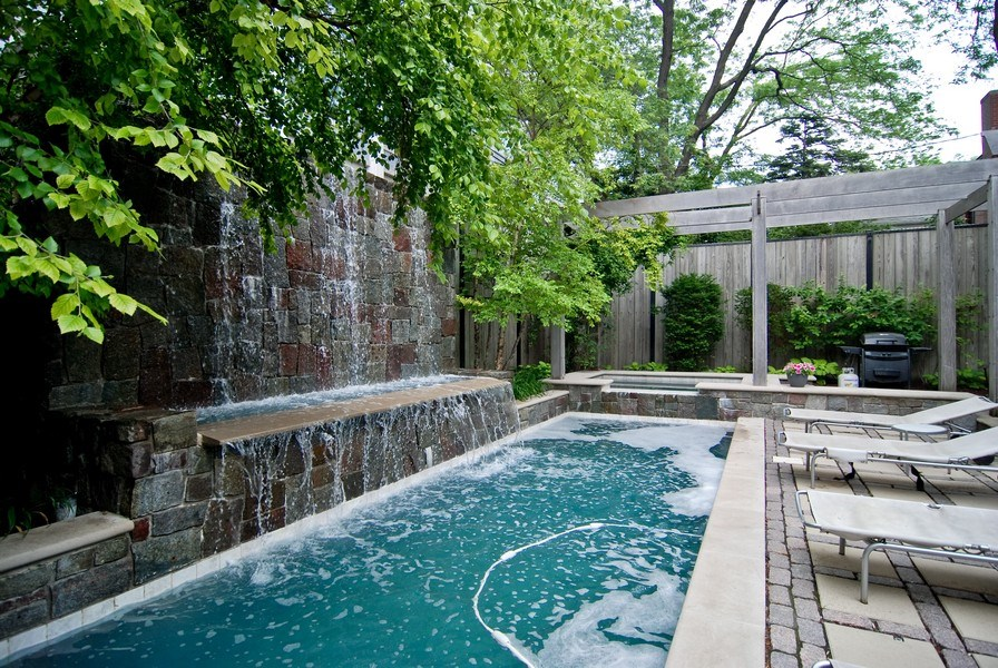 Real Estate Photography - 654 W Hutchinson, Chicago, IL, 60613 - Pool, Waterfall & Hot Tub