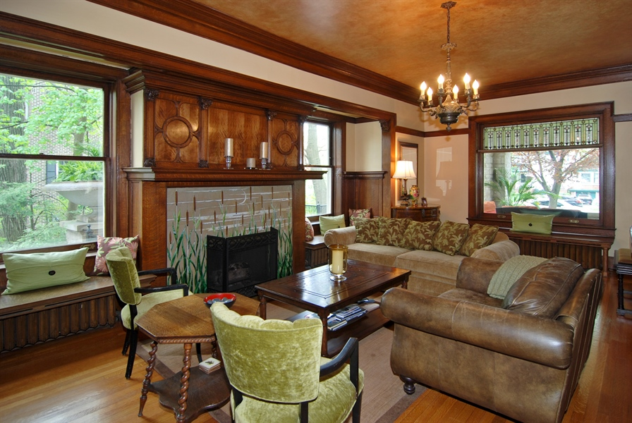 Real Estate Photography - 422 Forest Avenue, Oak Park, IL, 60302 - Living Room Fireplace