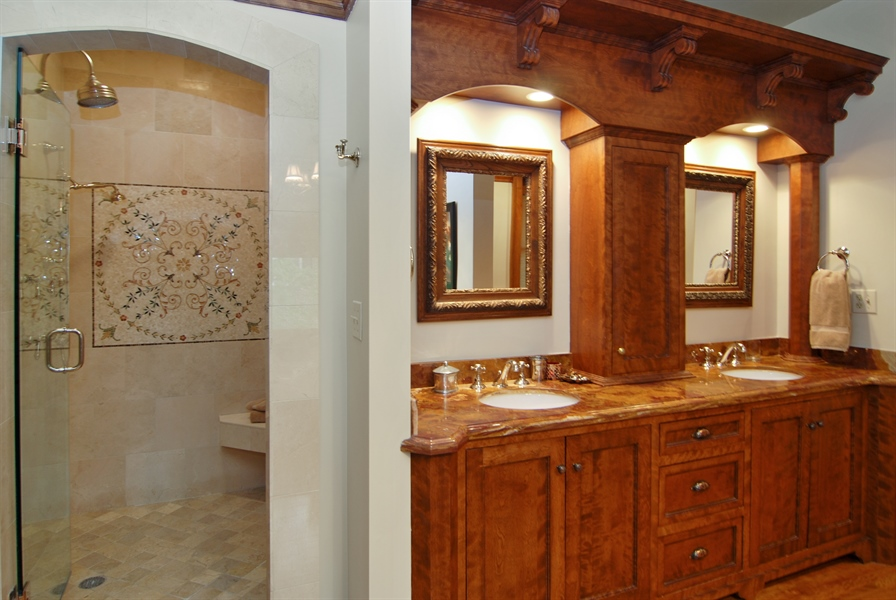 Real Estate Photography - 422 Forest Avenue, Oak Park, IL, 60302 - Master Bath Double Sinks and Separate Shower