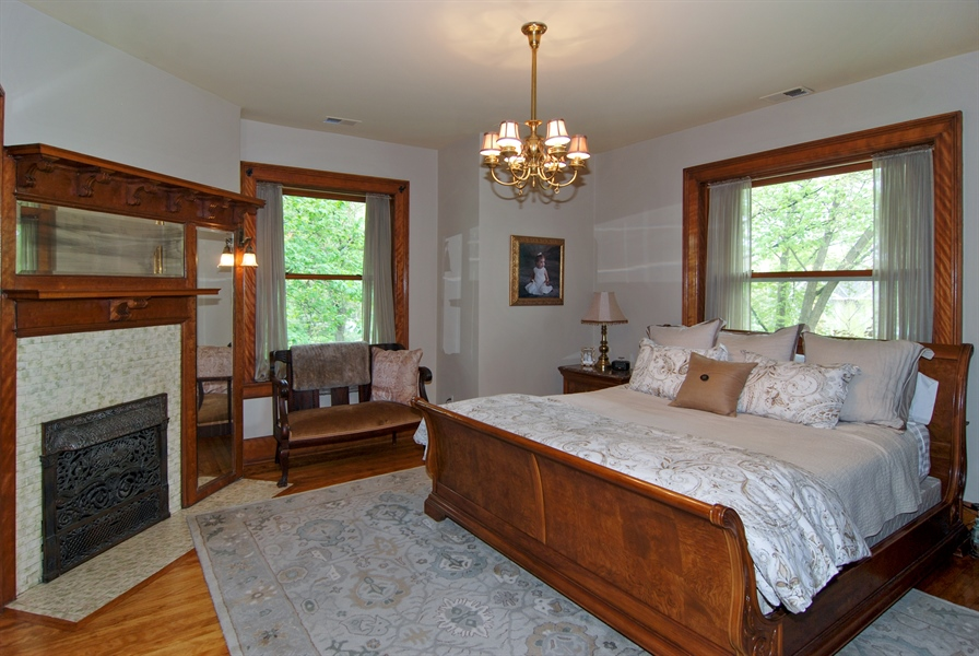 Real Estate Photography - 422 Forest Avenue, Oak Park, IL, 60302 - Master Bedroom with Fireplace