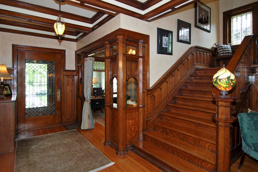 Real Estate Photography - 422 Forest Avenue, Oak Park, IL, 60302 - Entrance to Front Parlor, now used as a Den