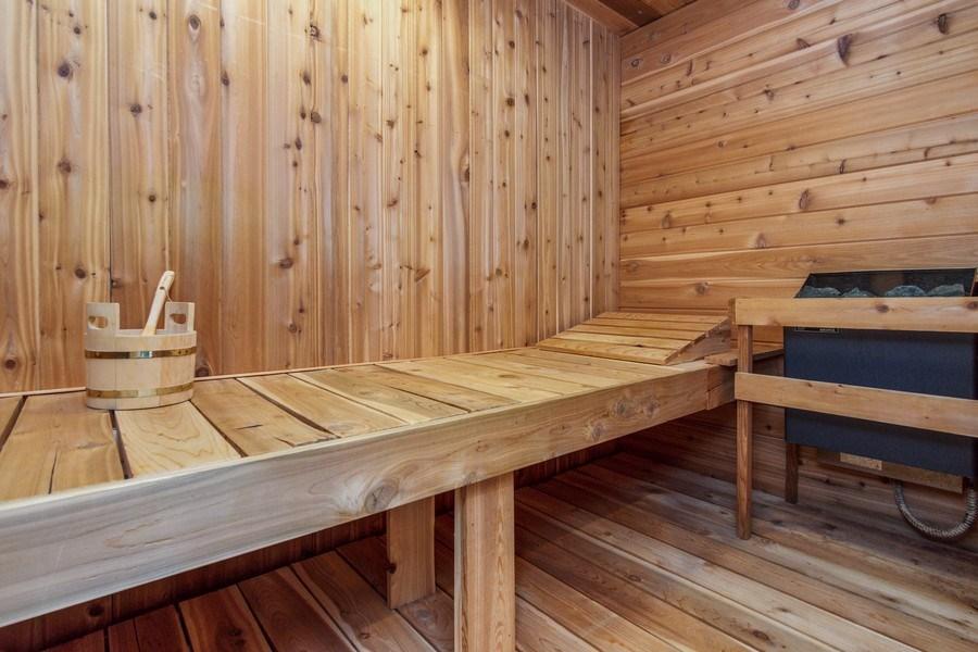 Real Estate Photography - 1 Burning Oak Trail, Barrington Hills, IL, 60010 - 5 x 10 cedar sauna room off full bath on lower lev