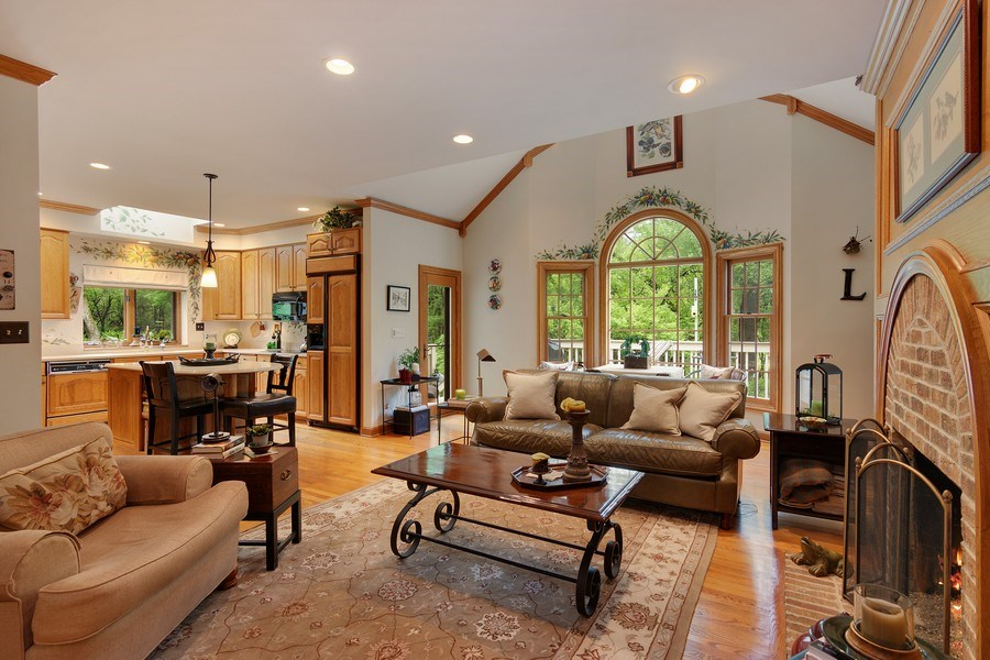 Real Estate Photography - 1 Burning Oak Trail, Barrington Hills, IL, 60010 - Hearth Room and Kitchen