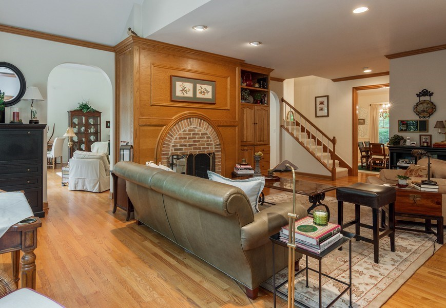 Real Estate Photography - 1 Burning Oak Trail, Barrington Hills, IL, 60010 - Hearth Room with two sided fireplace