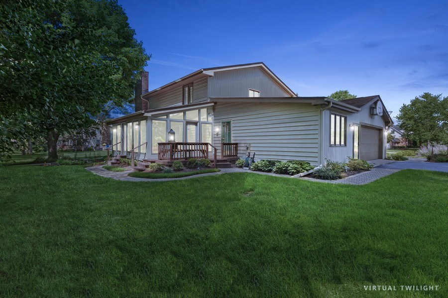 Real Estate Photography - 250 Wyngate, Barrington, IL, 60010 - Side View at Night Capturing the Beautiful 3-Seaso