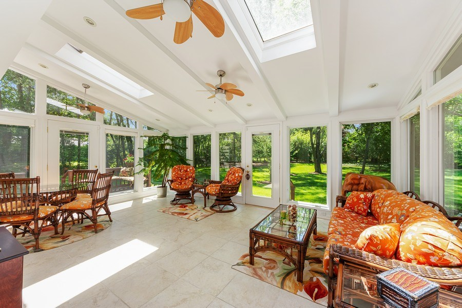 Real Estate Photography - 250 Wyngate, Barrington, IL, 60010 - Kitchen Adjoins an Inspiring 3-Season Room with a
