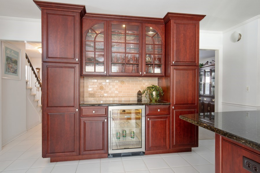 Real Estate Photography - 250 Wyngate, Barrington, IL, 60010 - Built-In Glass Cabinet & Pantry with Wine/Beverage