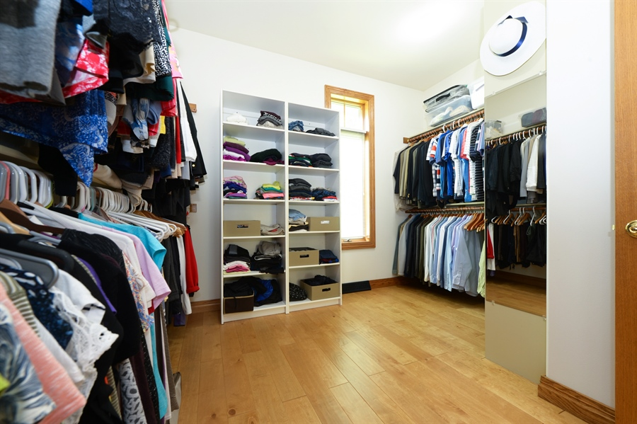 Real Estate Photography - n17w30595 woodland hill drive, delafield, WI, 53018 - Master Bedroom Closet