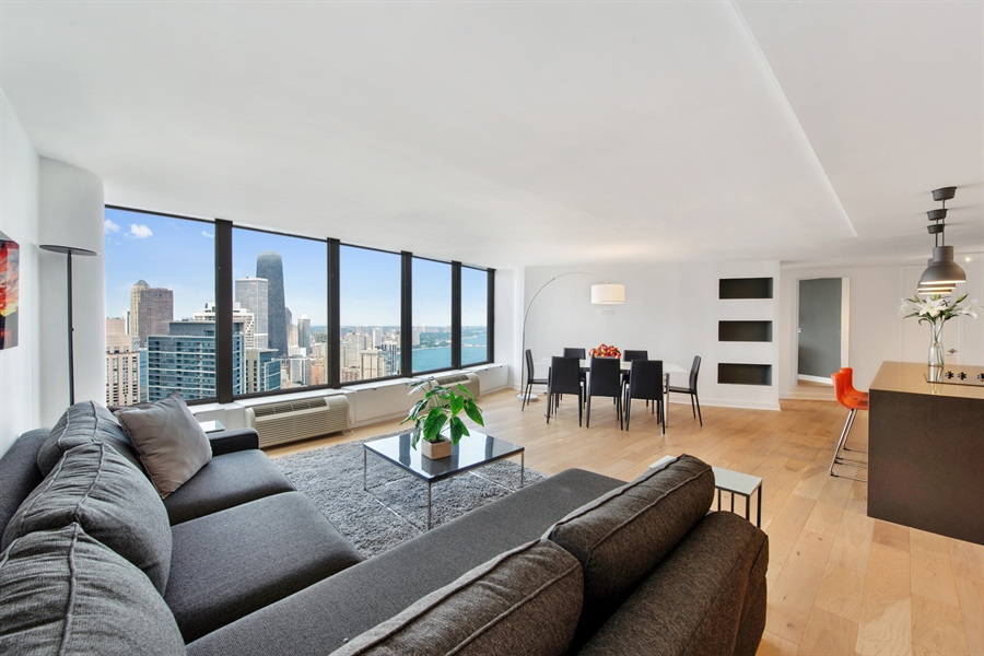 Real Estate Photography - 505 N Lakeshore Dr, Unit 5701, Chicago, IL, 60611 - Living Room
