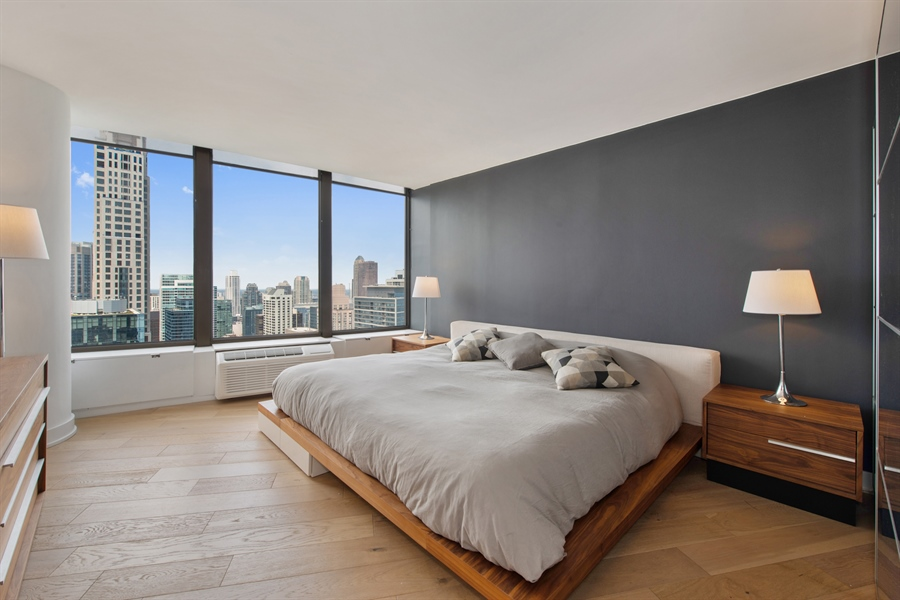 Real Estate Photography - 505 N Lakeshore Dr, Unit 5701, Chicago, IL, 60611 - Master Bedroom