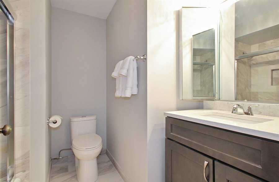 Real Estate Photography - 8421 W. Gregory, 201, Chicago, IL, 60656 - Bathroom