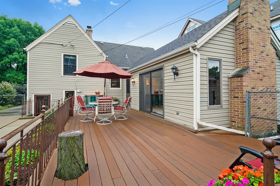 Real Estate Photography - 3932 Grove Ave, Western Springs, IL, 60558 - Spacious Deck accessed from Family Room and Lower