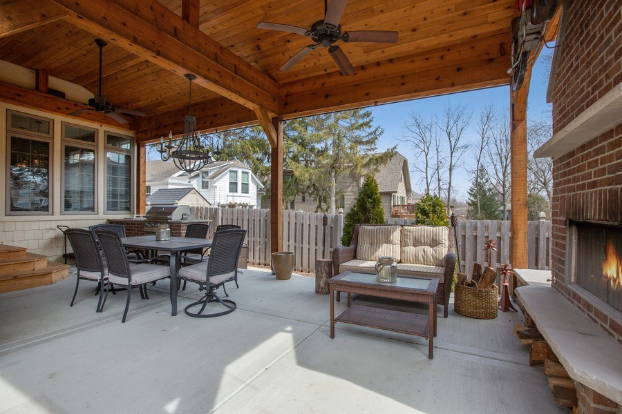 Real Estate Photography - 937 Kenyon St, Downers Grove, IL, 60516 - Outdoor Patio W/BBQ & Fireplace