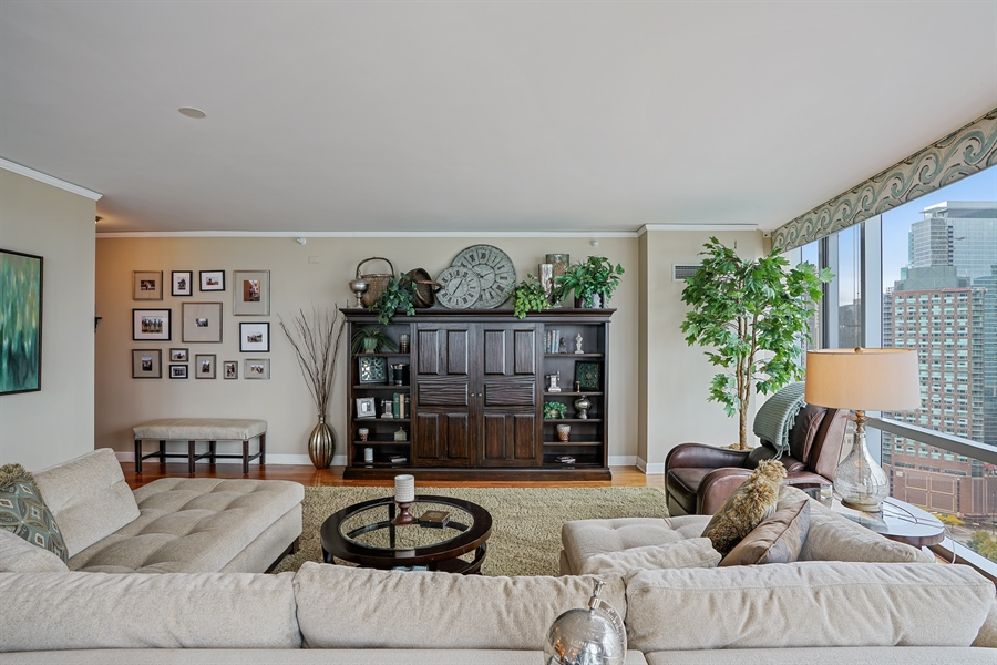 Real Estate Photography - 450 E Waterside Dr, Unit 2302, Chicago, IL, 60601 - Living Room