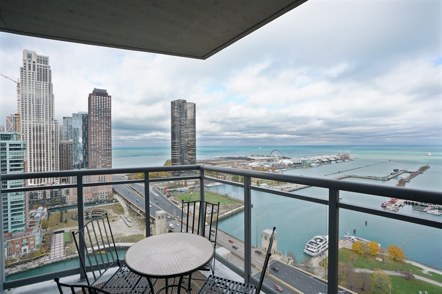 Real Estate Photography - 450 E Waterside Dr, Unit 2302, Chicago, IL, 60601 - Balcony